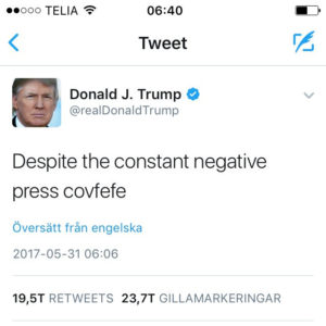 The covfefe tweet by Per-Olof Forsberg on Flickr, used under a CC-BY 2.0 license